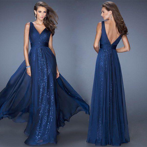 вечернее платье синее фото