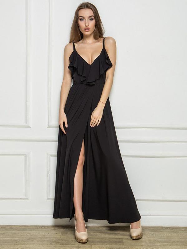 вечернее платье с разрезом по ноге фото