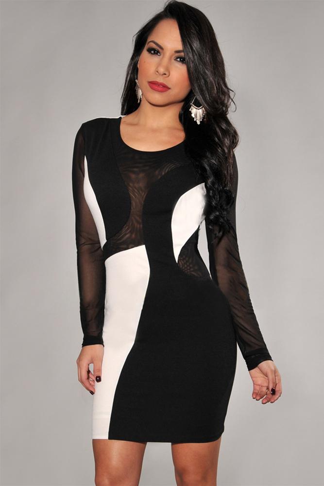 Черное платье с белыми вставками фото
