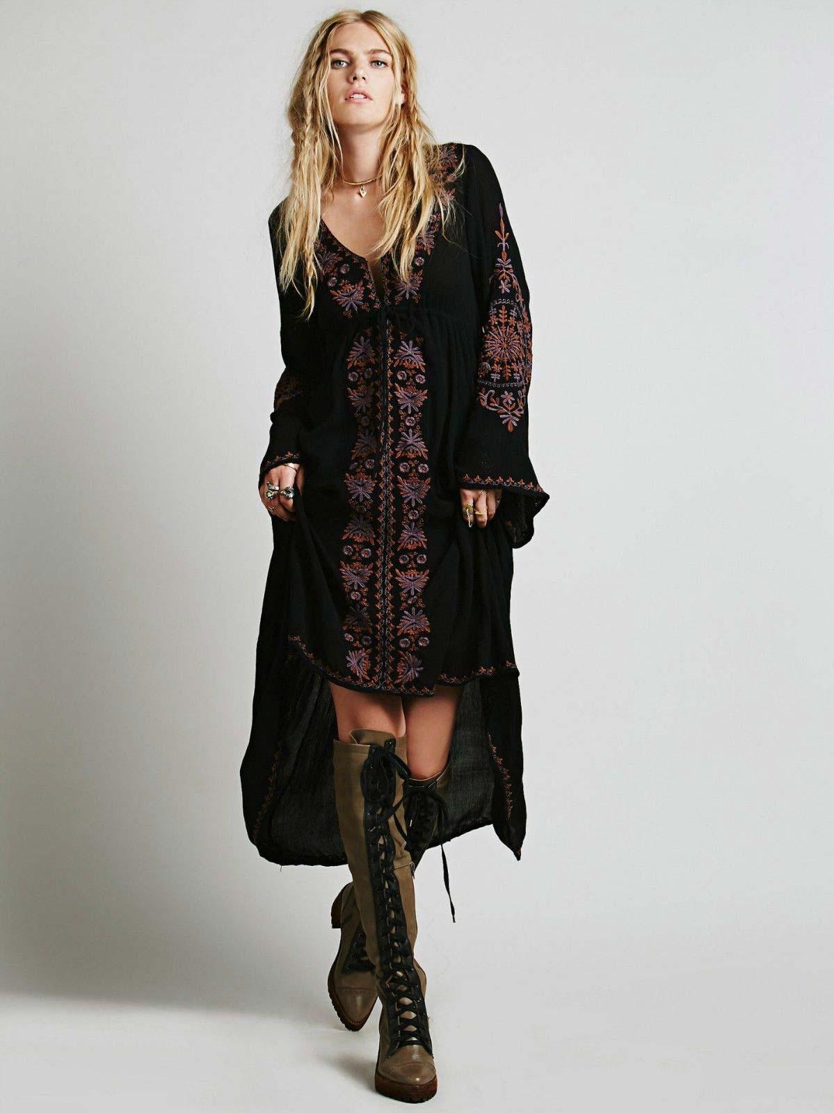 Черное платье в стиле бохо фото