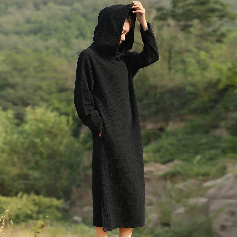 Черное платье с капюшоном фото