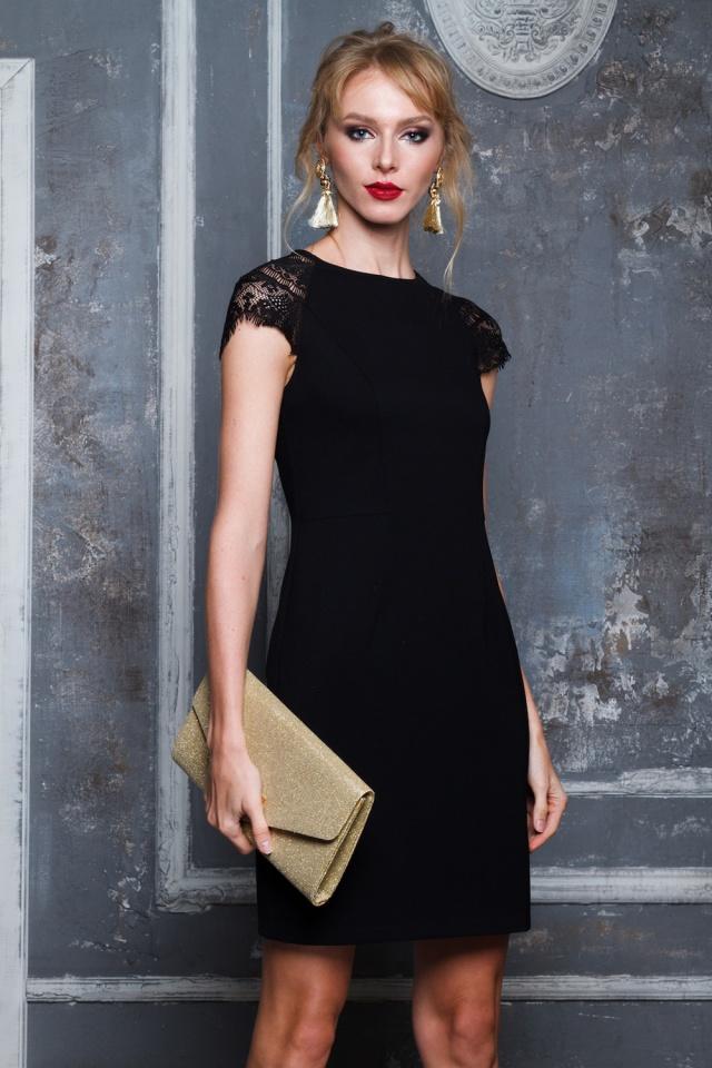 черное платье и клатч фото