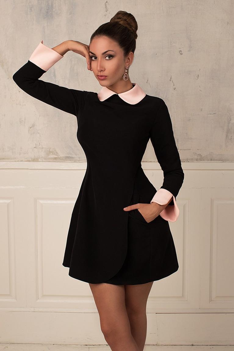 черное платье с воротником фото