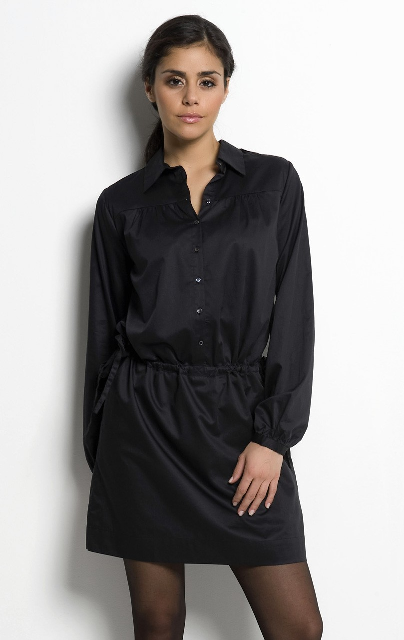 Черное платье-рубашка фото
