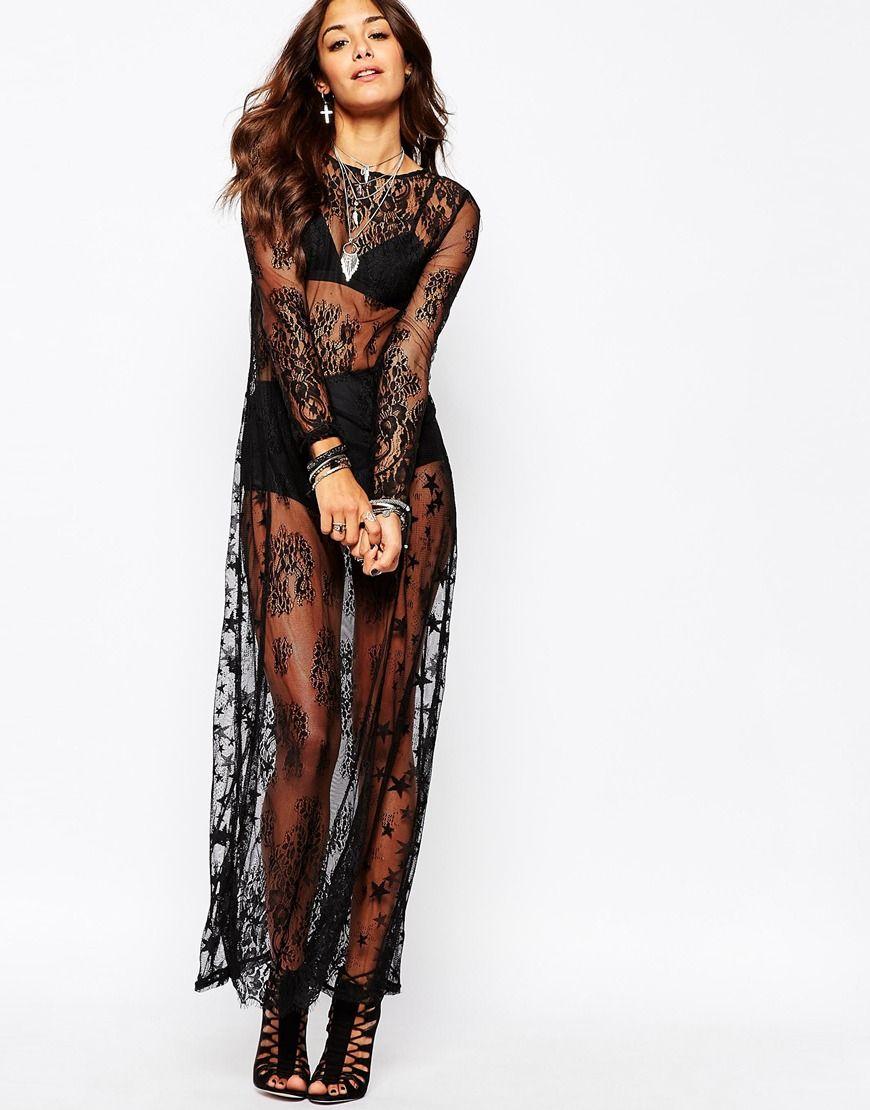 Черное полупрозрачное платье фото