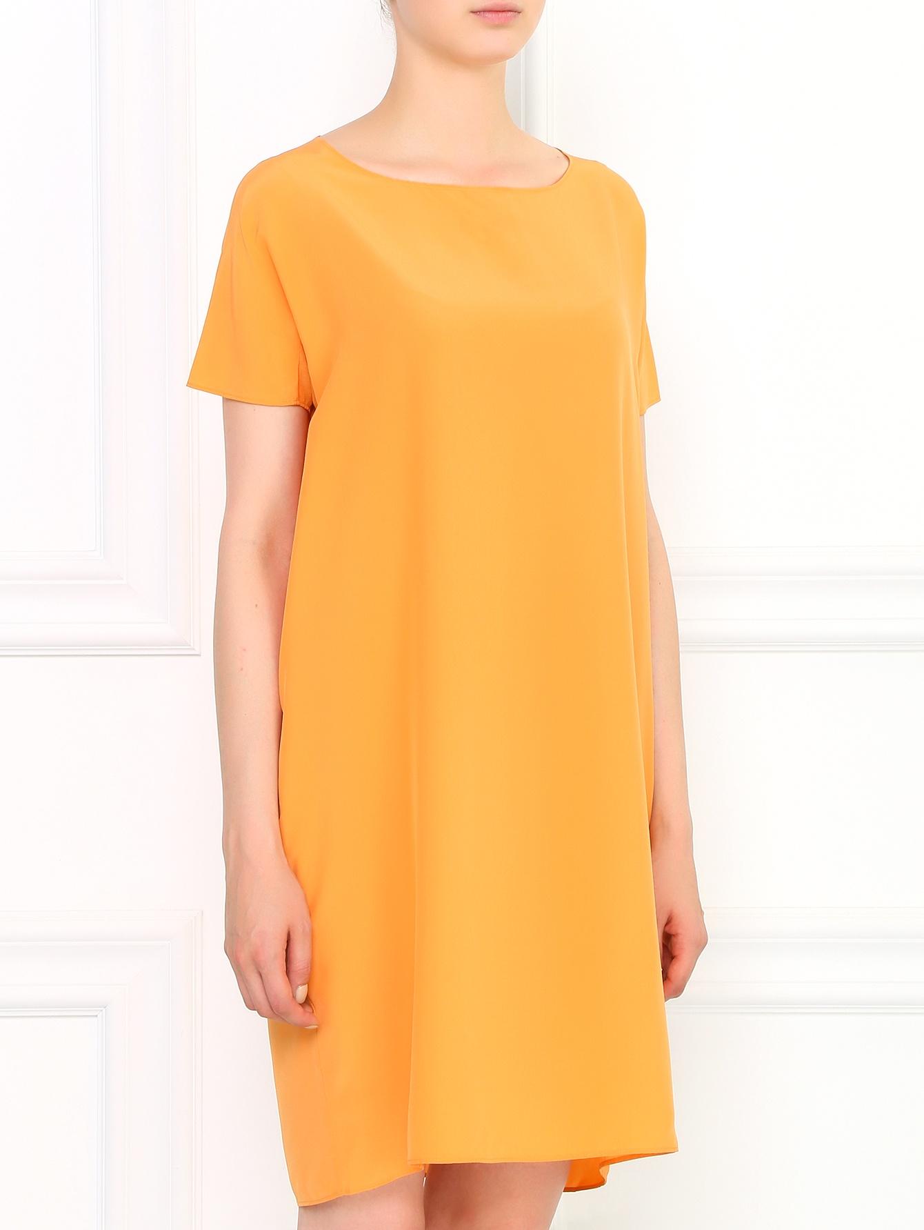 платье из шелка прямого кроя