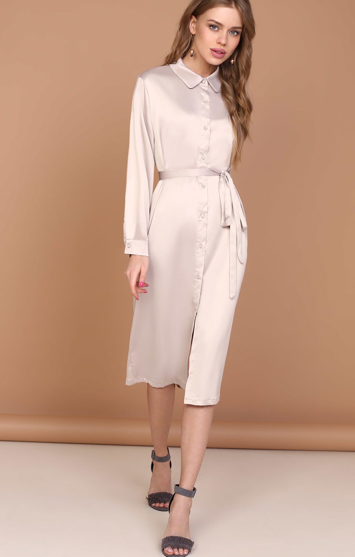 платье рубашка из шелка