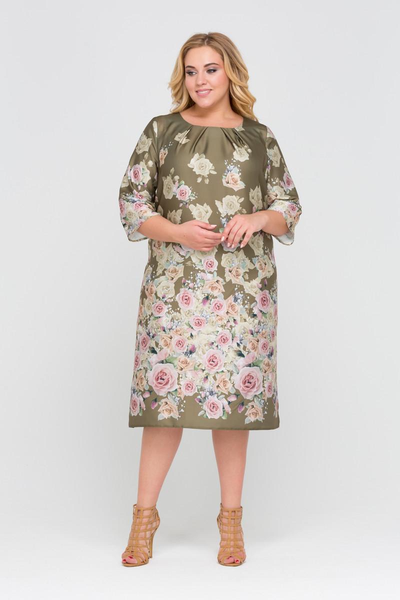 платье из шелка для полных с принтом