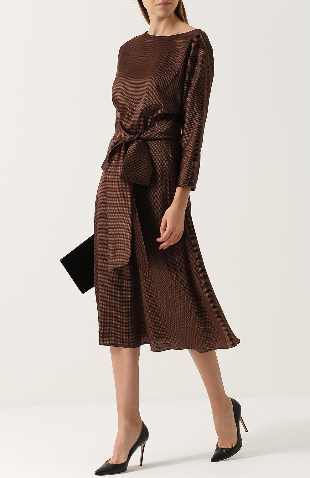 платье из шелка деловое миди