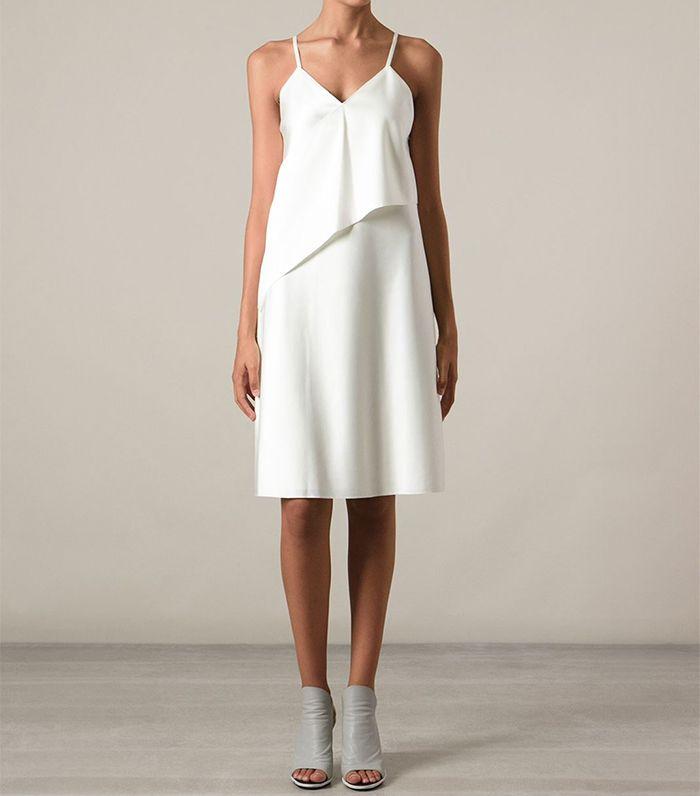 платье из шелка белое