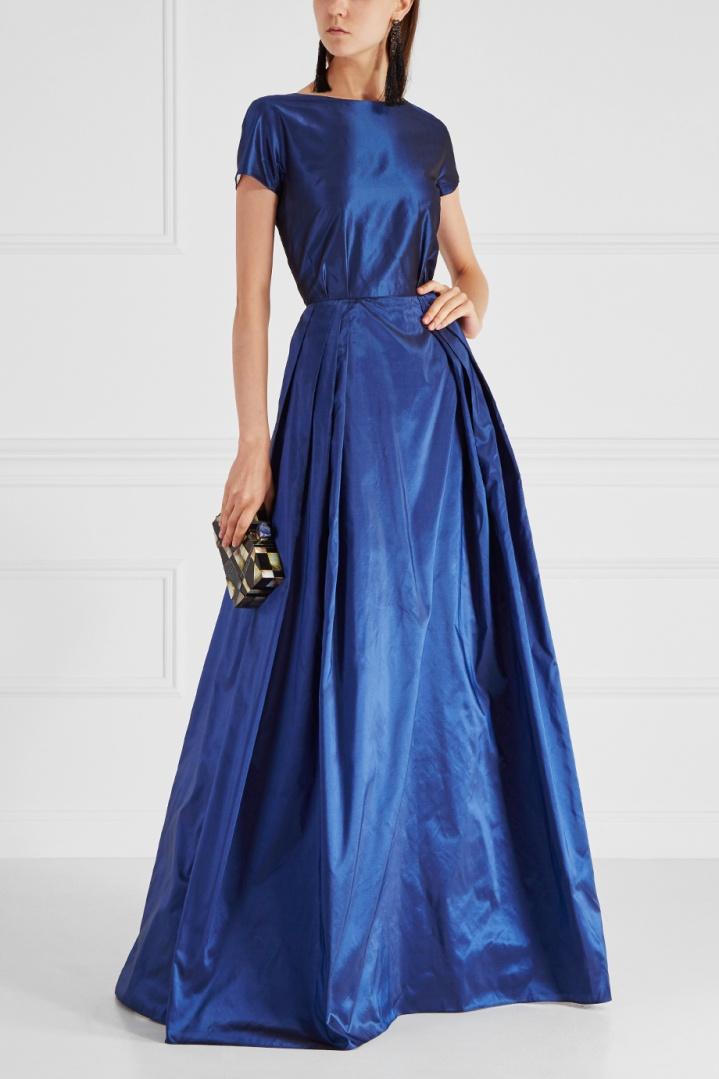 платье из шелка синее