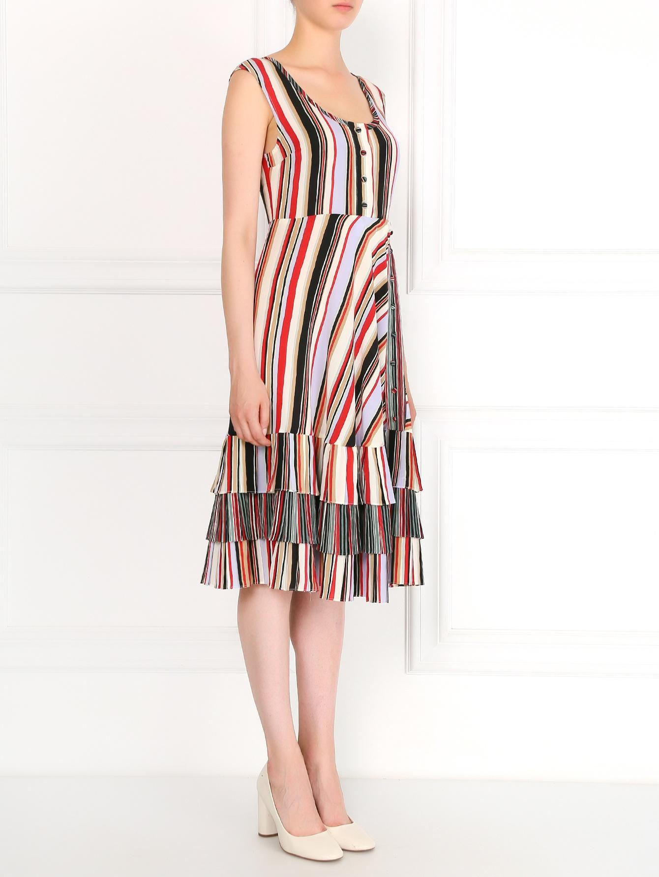 платье из шелка в полоску