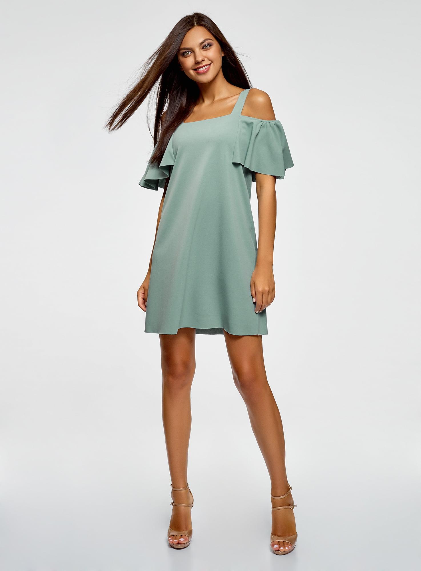 платье свободного кроя с открытыми плечами