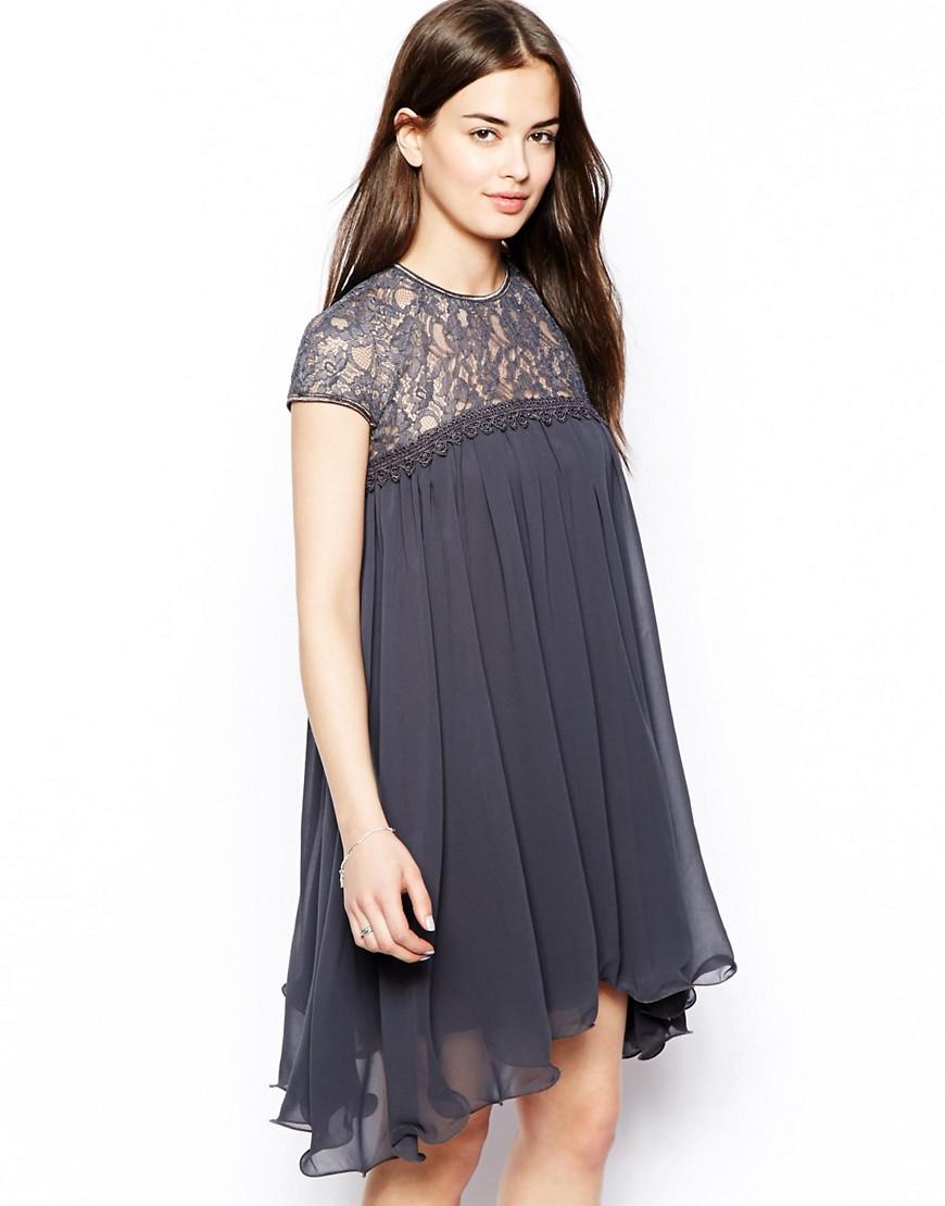 платье свободного кроя на кокетке