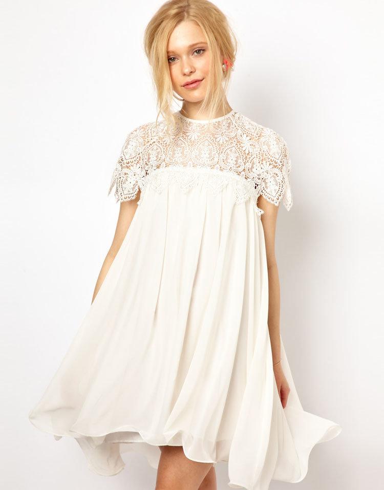 платье свободного кроя свадебное короткое
