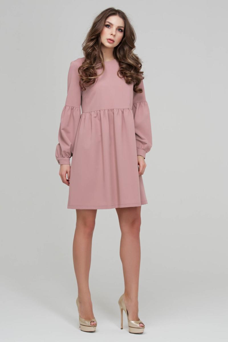 платье свободного кроя розовое