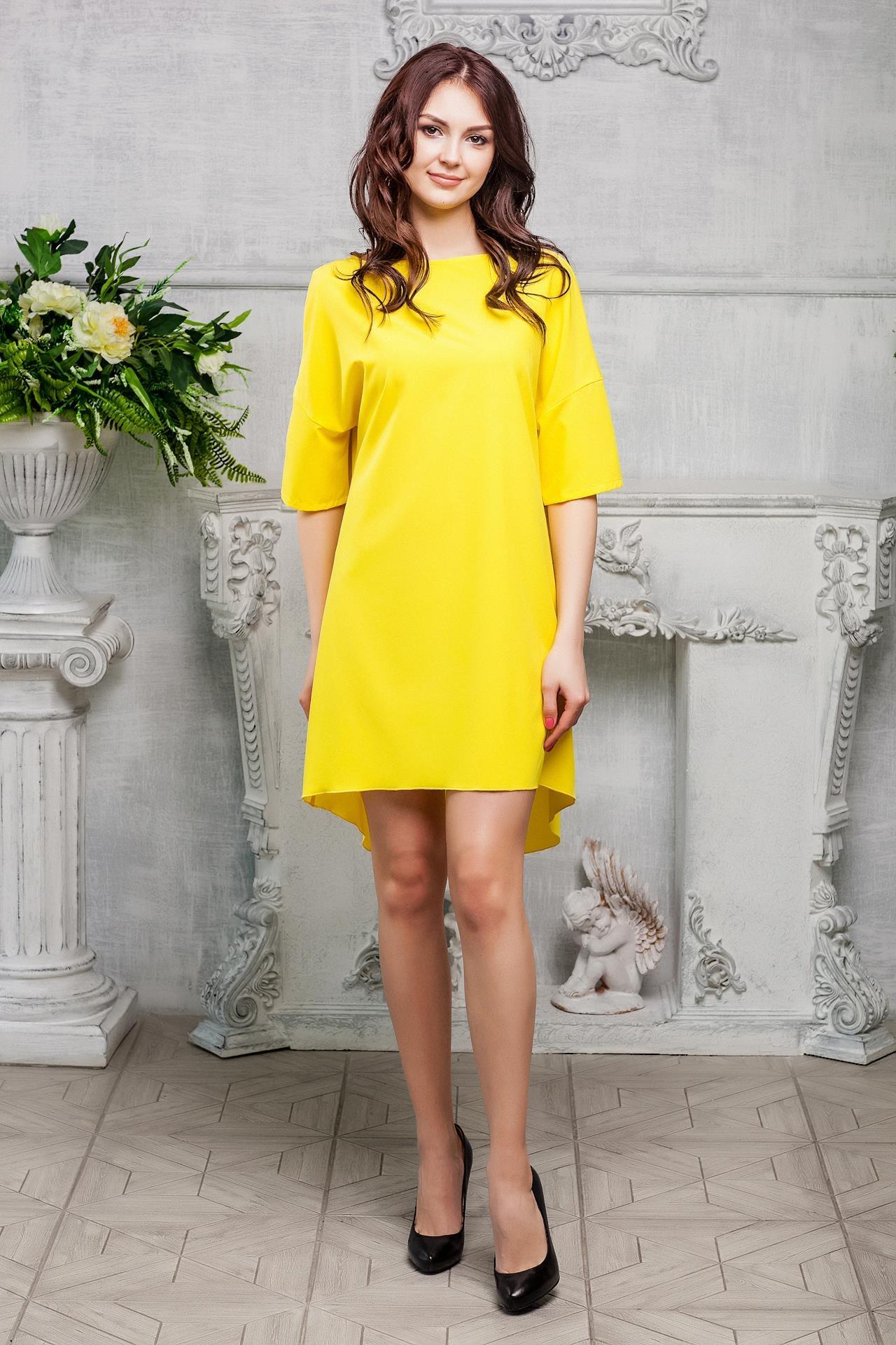 платье свободного кроя желтое