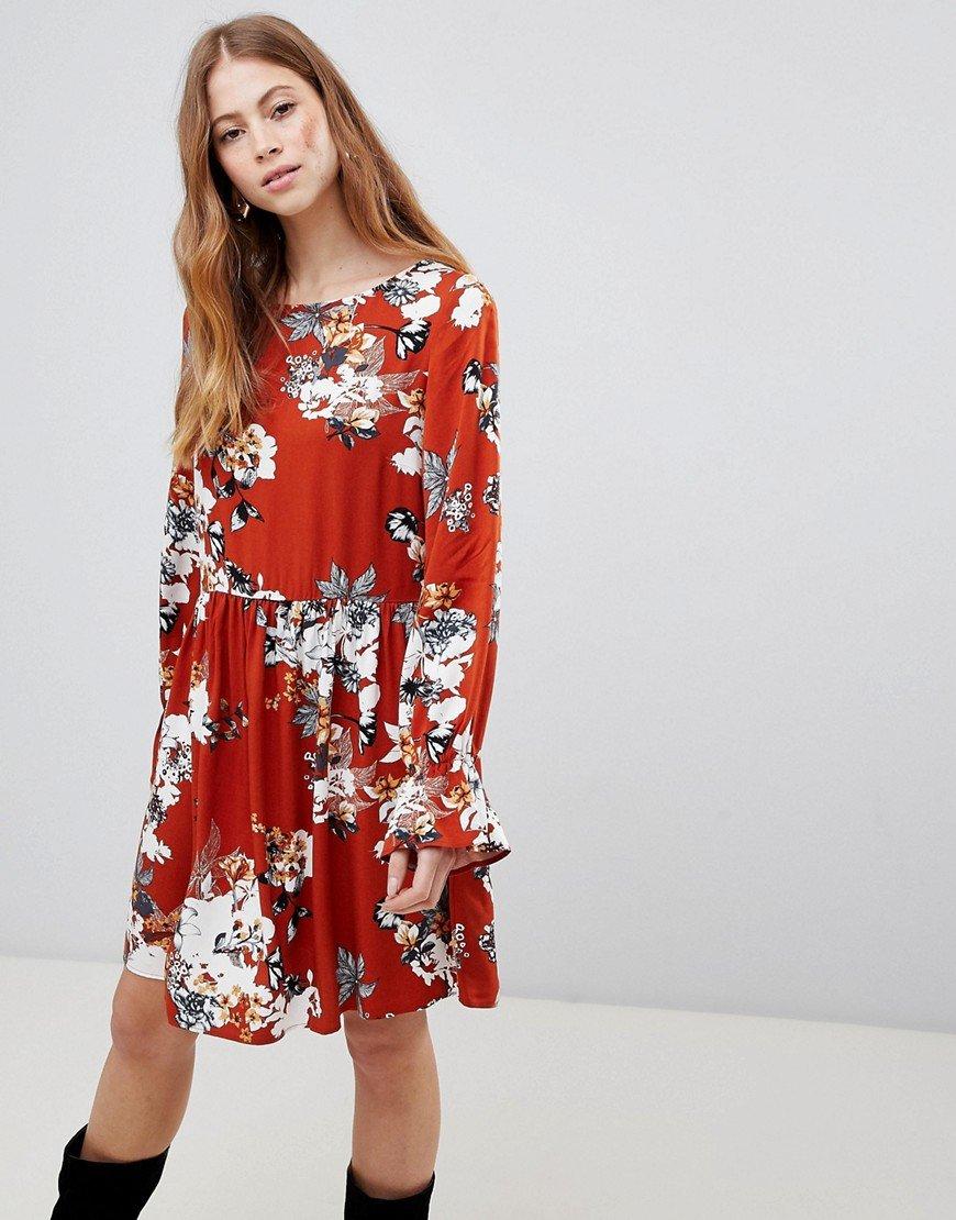 платье свободного кроя цветочный принт