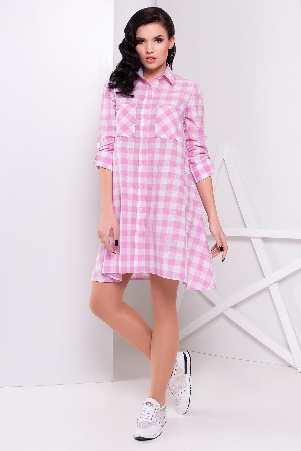 платье в клетку розовое