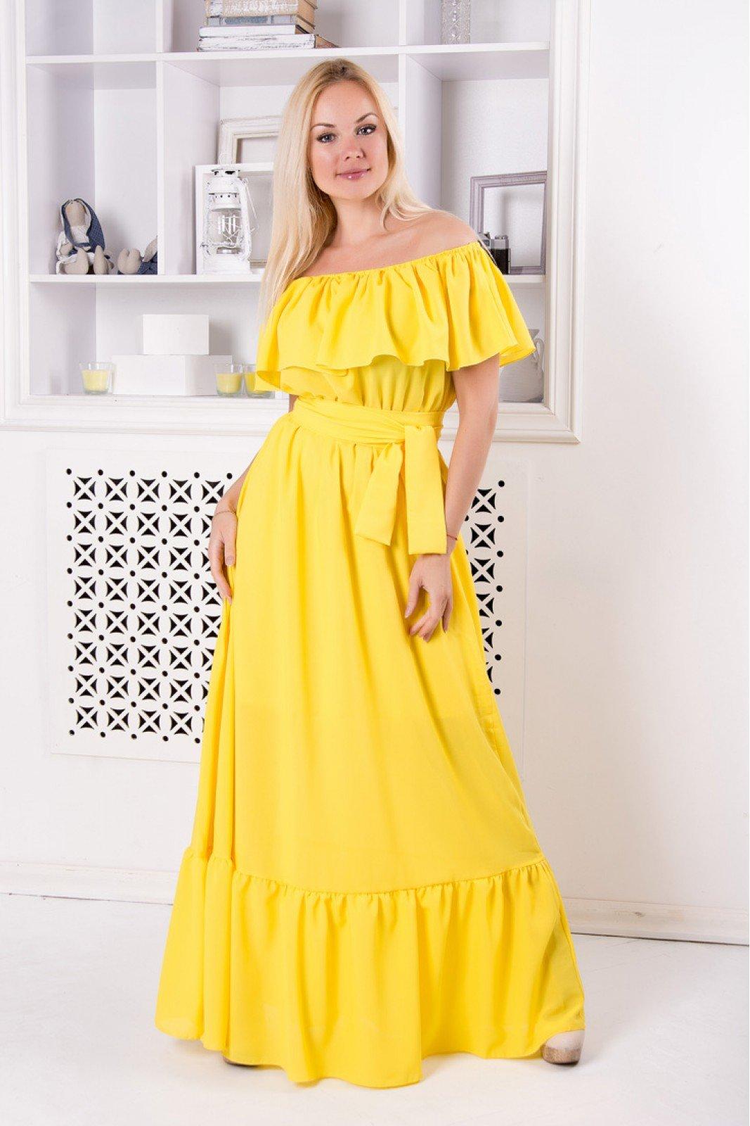 желтое платье длинное