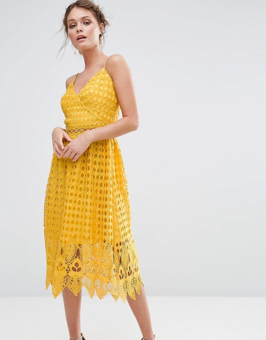 желтое платье ажурное