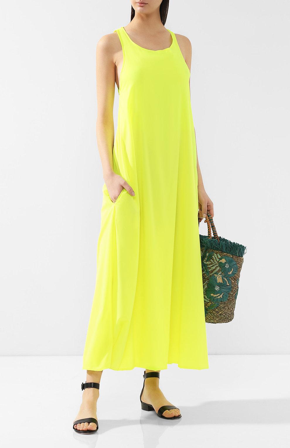 желтое платье свободного кроя