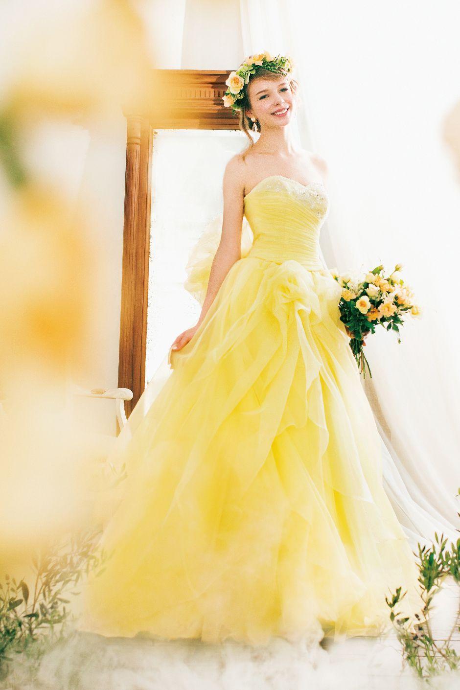 желтое платье свадебное