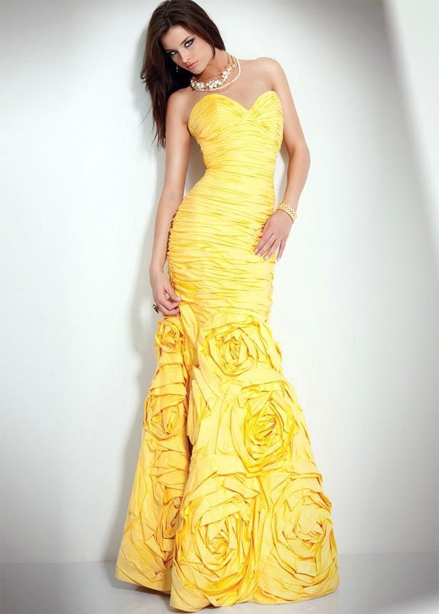 желтое платье свадебное рыбка