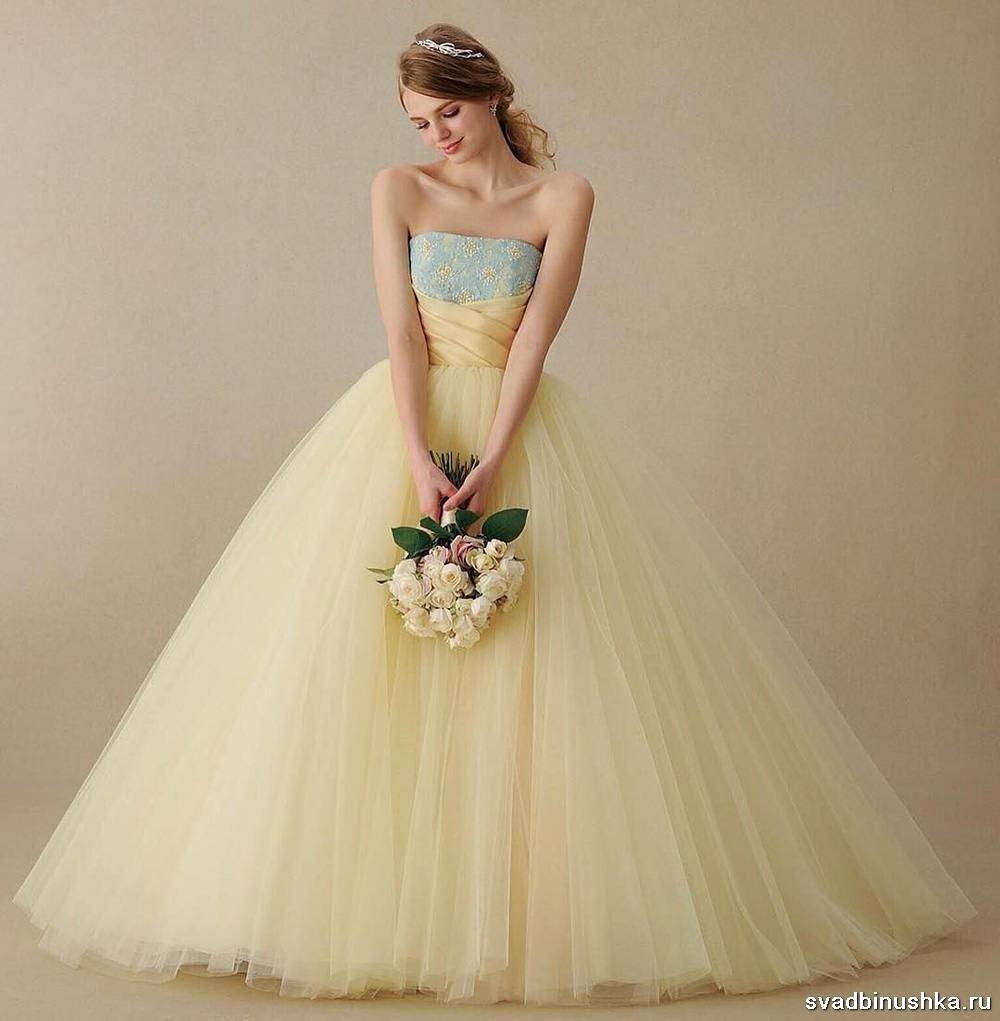 бледно желтое платье свадебное