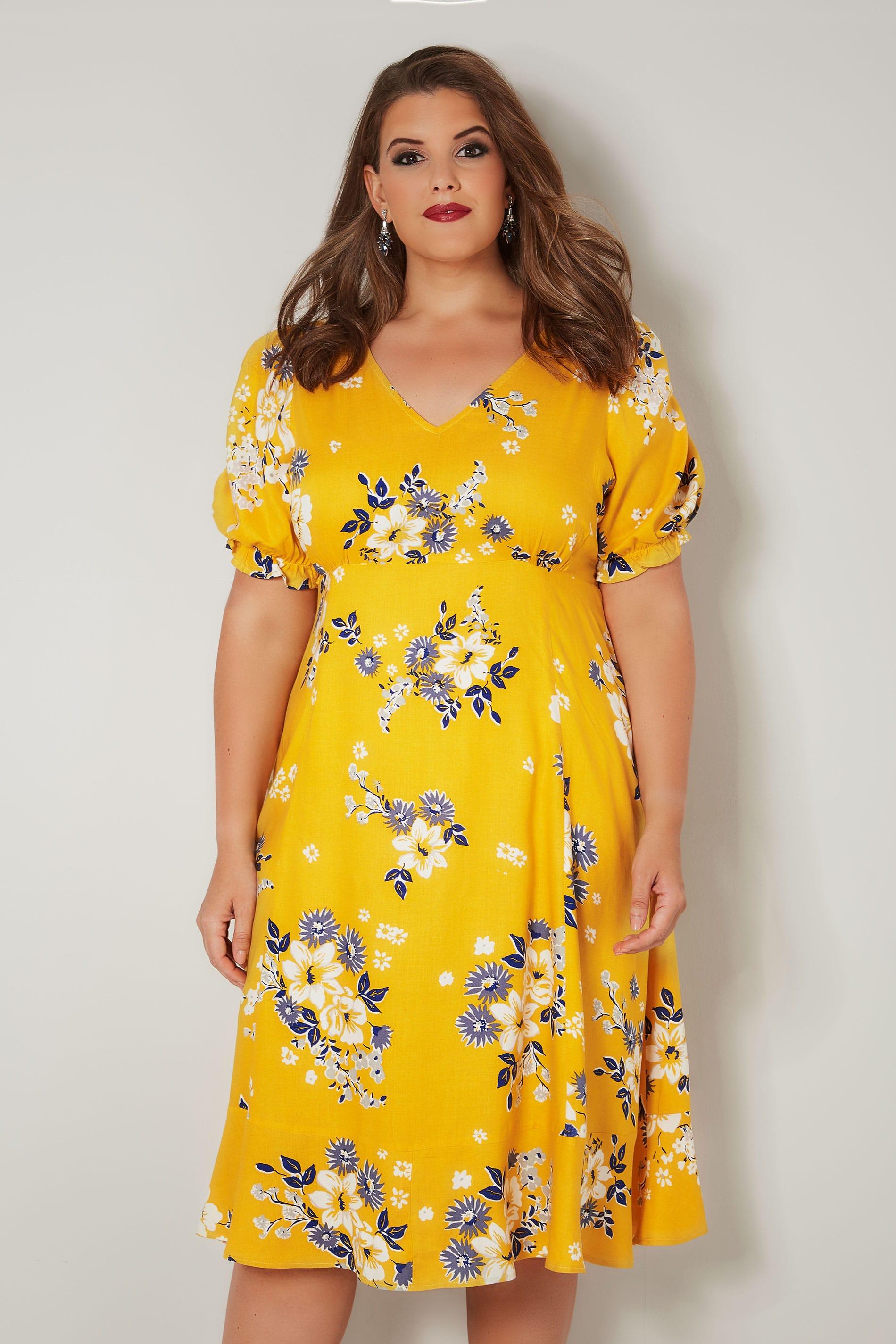 желтое платье большого размера с цветами