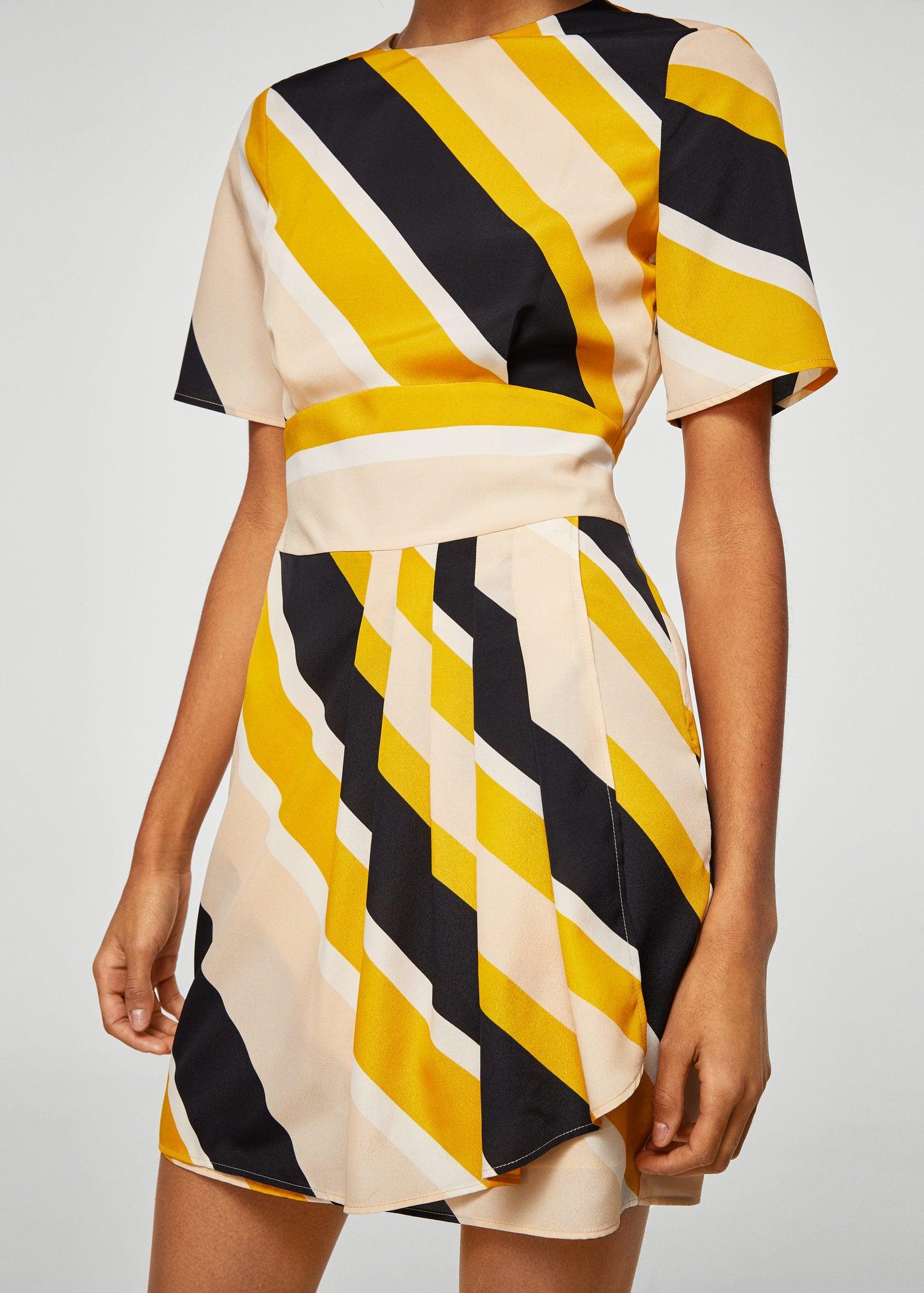 желтое платье в черную полоску