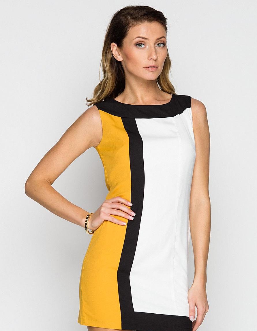 Желто-черно-белое платье