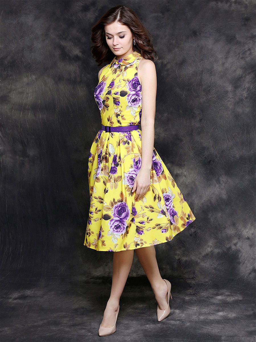 Желто-сиреневое платье