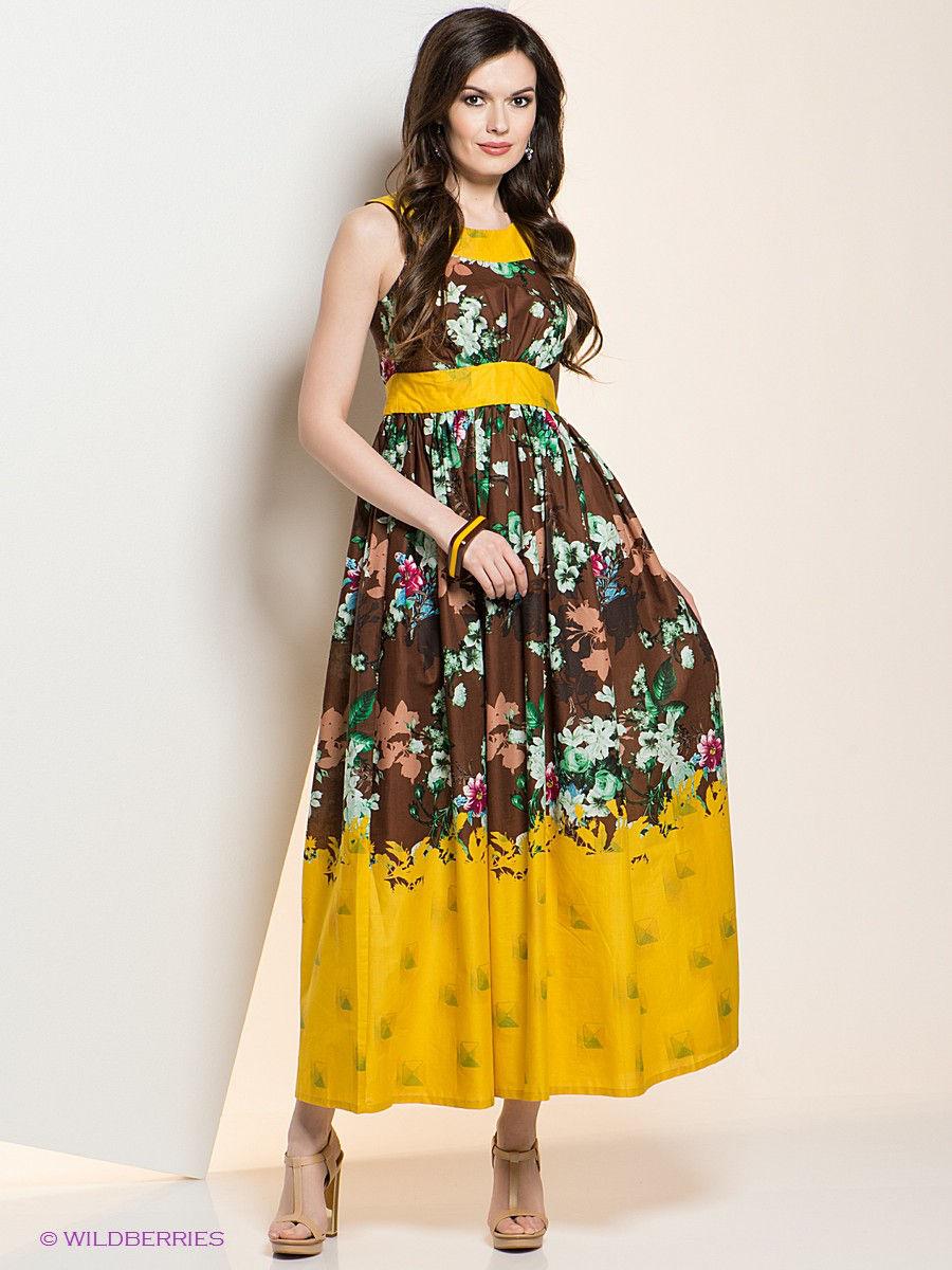 Желто-коричневое платье