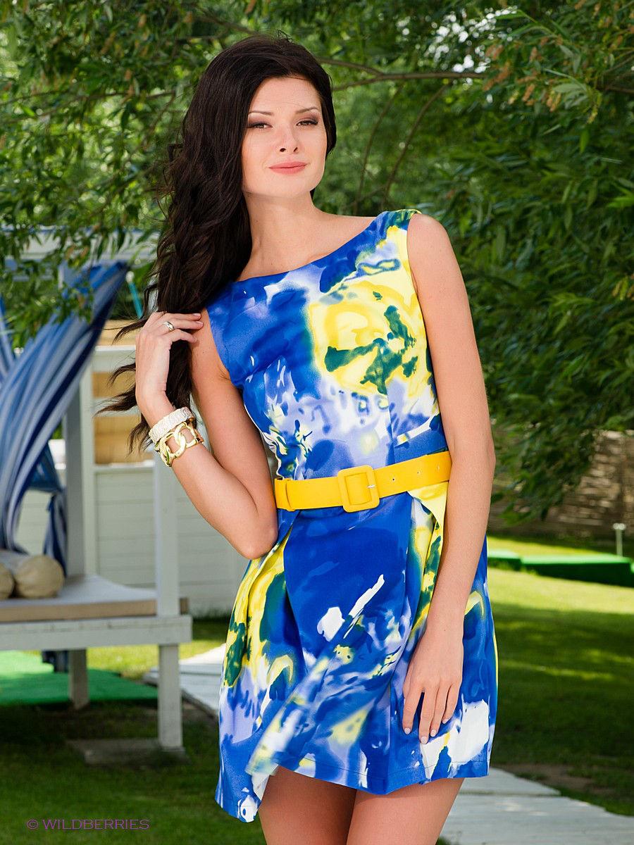 желто голубое платье