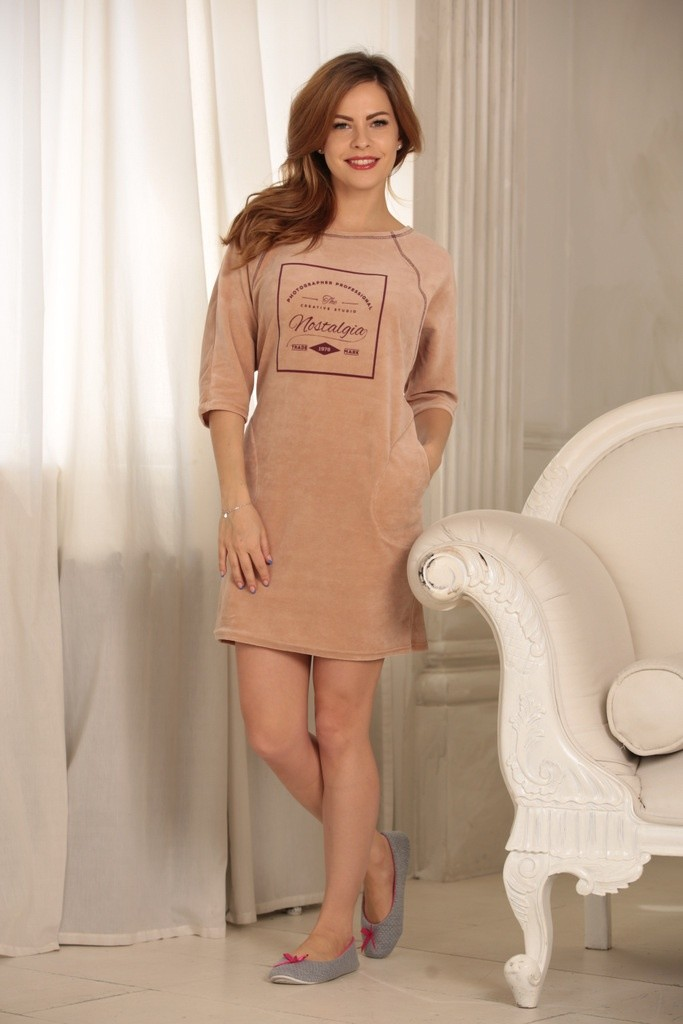 домашнее платье бежевое