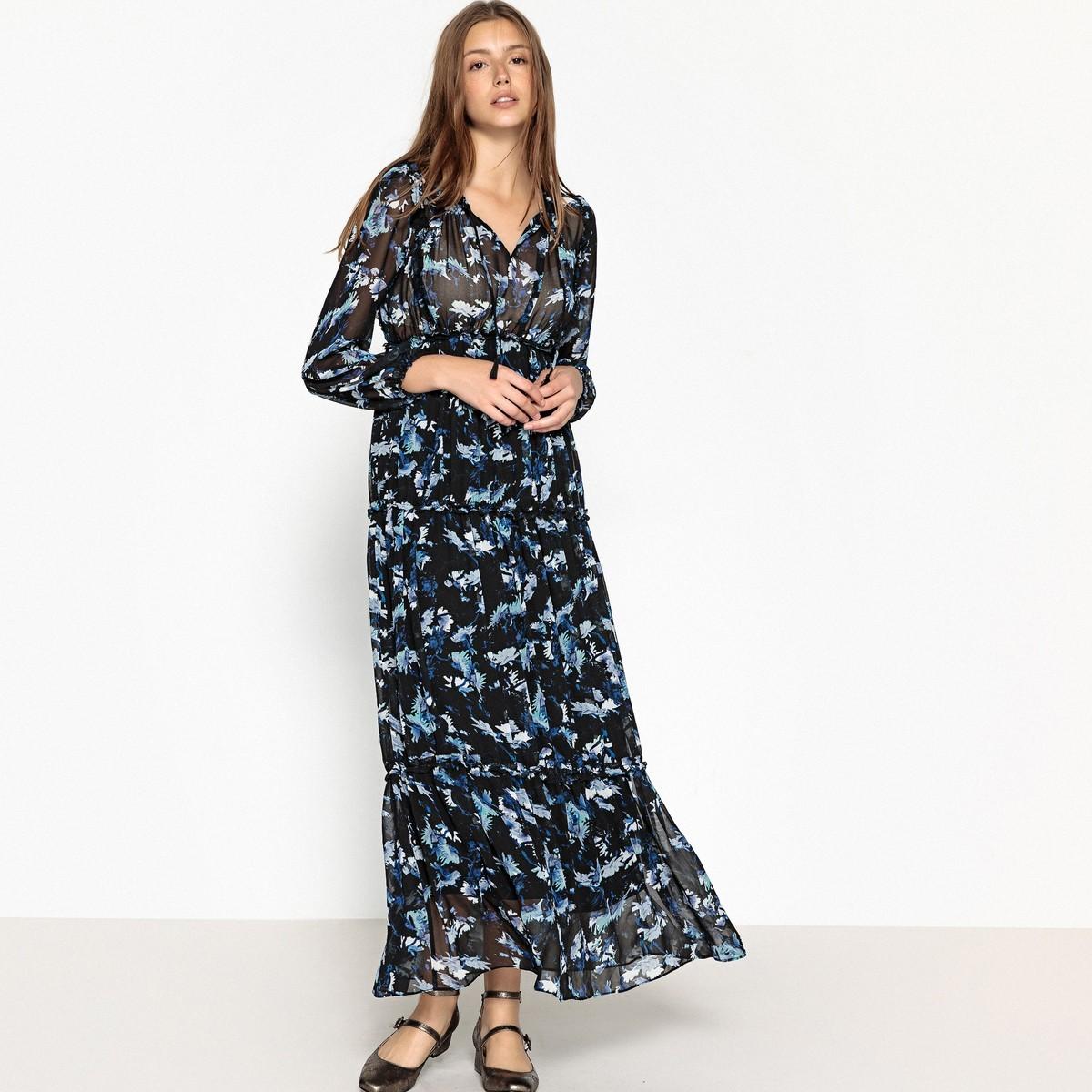 платье с цветочным принтом длинное фото