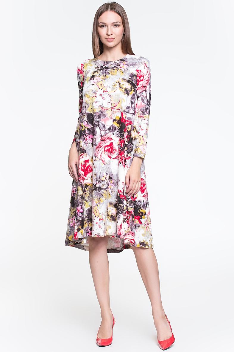 платье с цветочным принтом трапеция фото