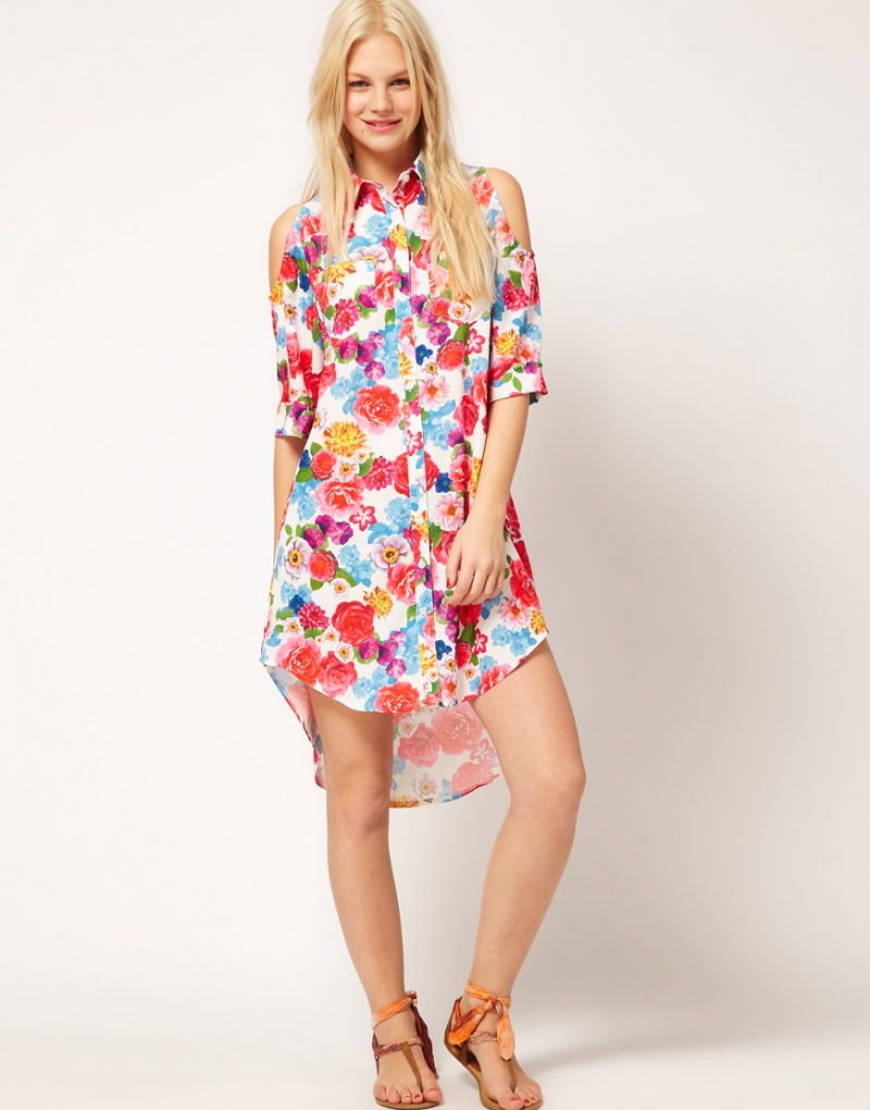 платье рубашка с цветочным принтом фото