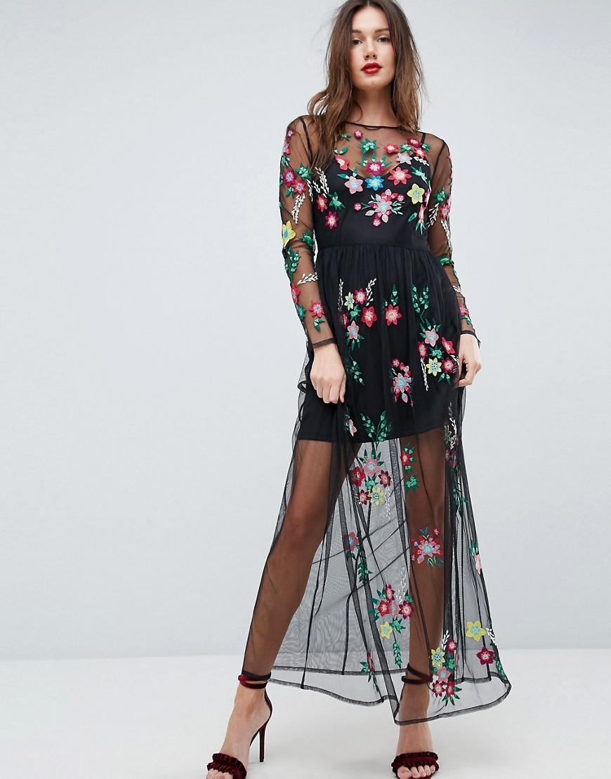платье с цветочным принтом полупрозрачное фото