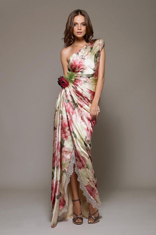 платье с цветочным принтом вечернее фото