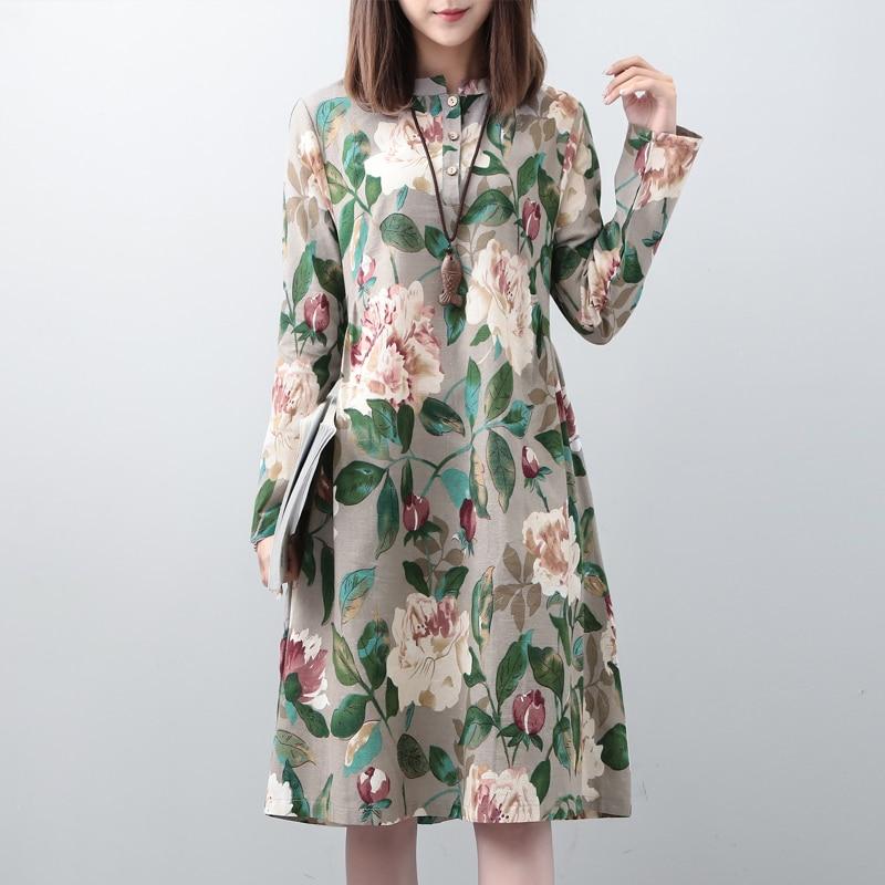 платье с цветочным принтом весна осень фото