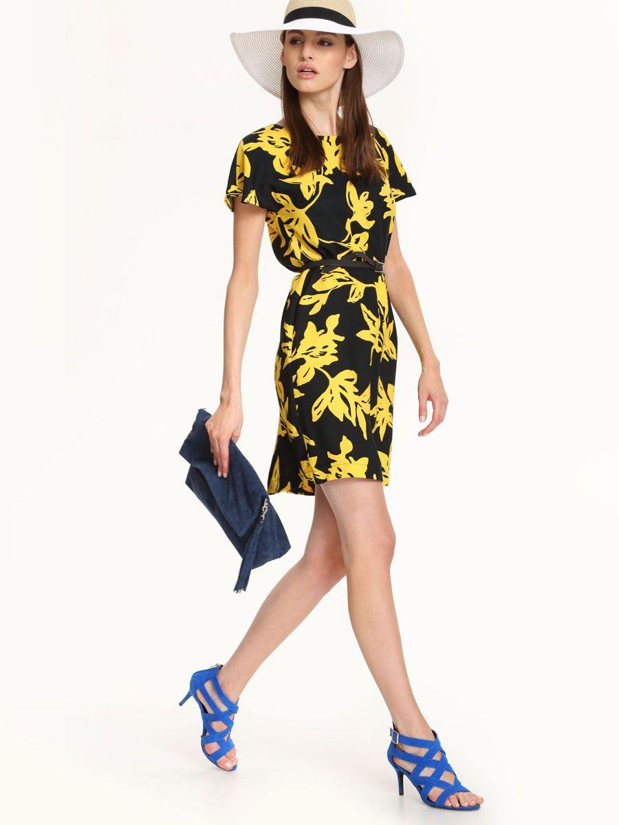 Черное платье с желтыми цветами фото