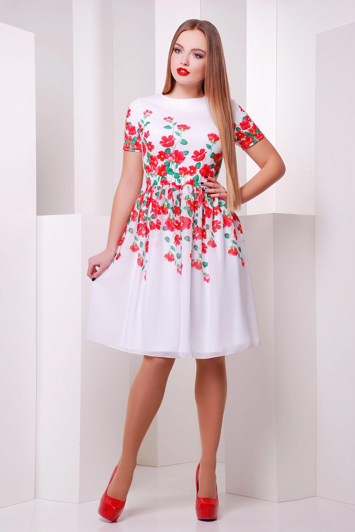 Белое платье с красными цветами фото