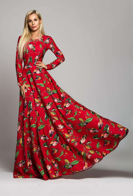 Красное платье в пол с цветами фото