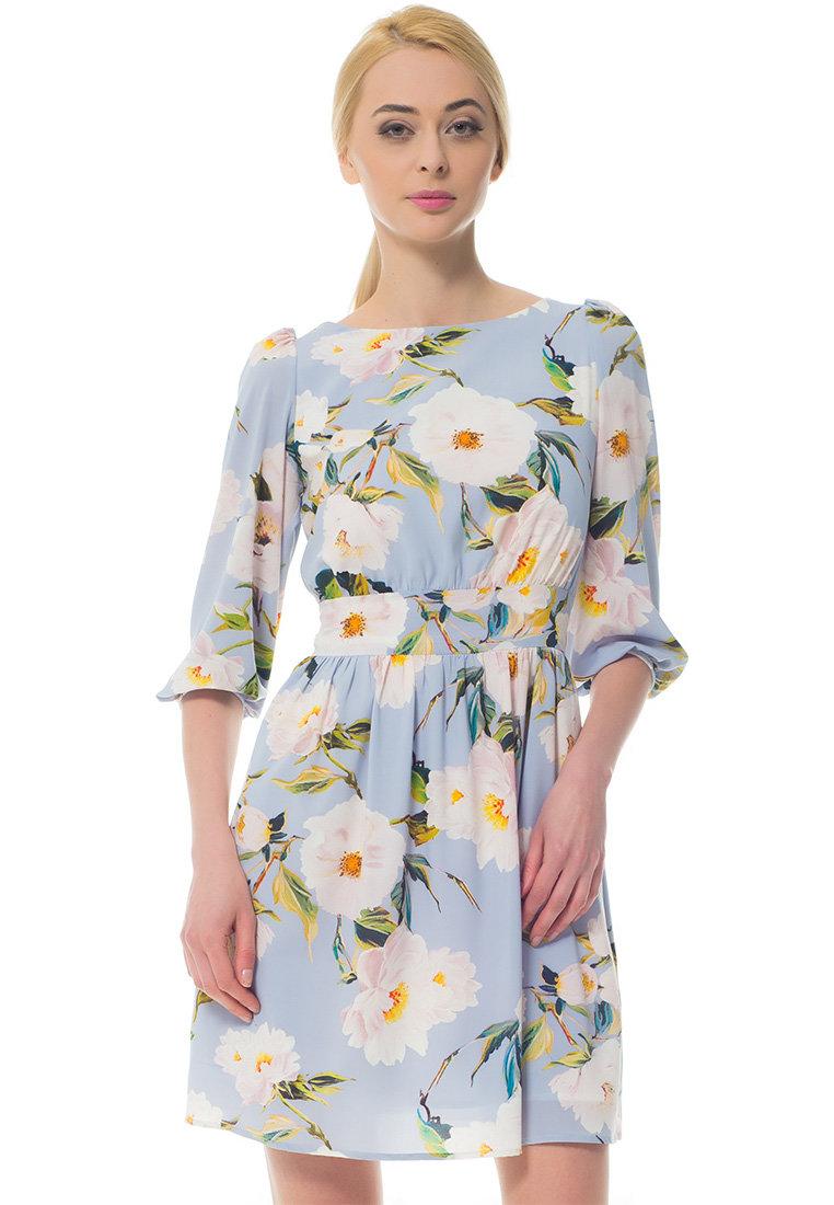 голубое платье с цветами фото