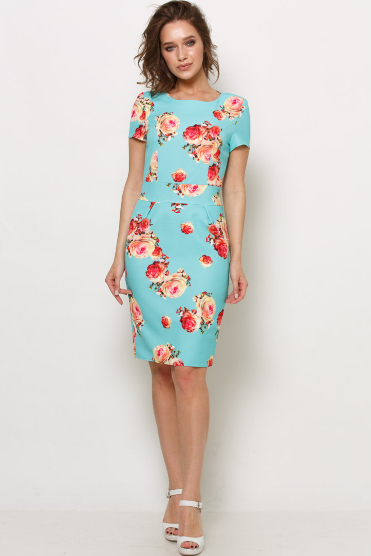 бирюзовое платье с цветами фото