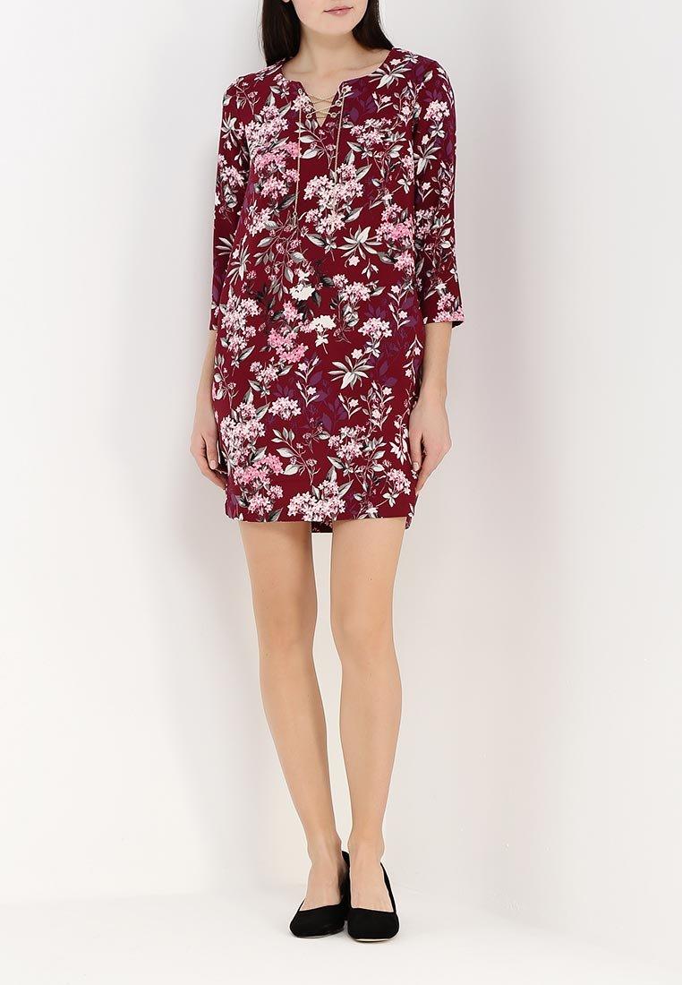 бордовое платье с цветами фото