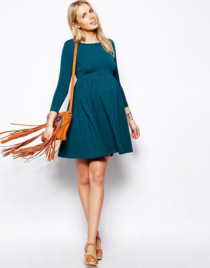 платье трапеция для беременных с рукавом