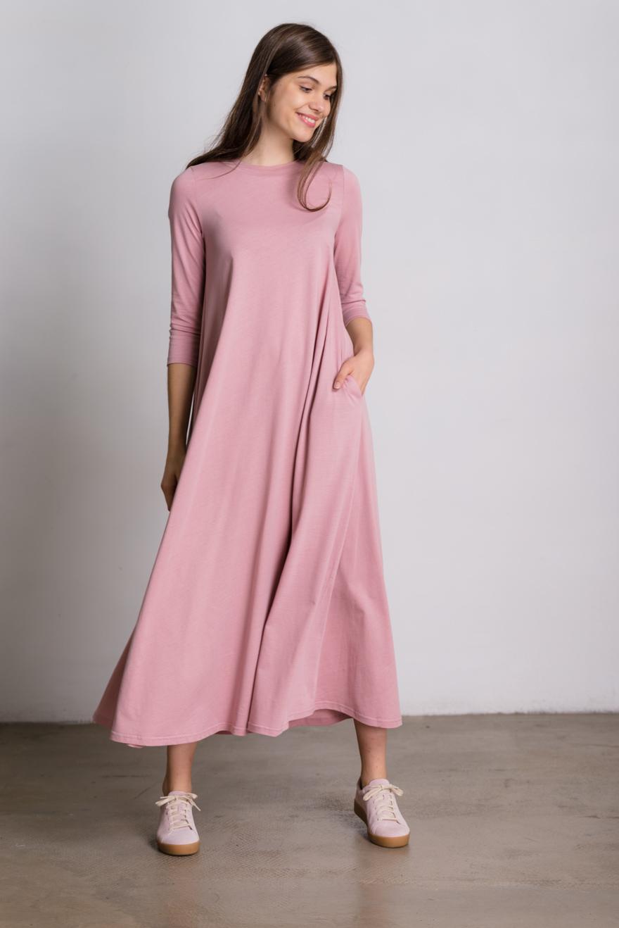 платье трапеция цвет розовый